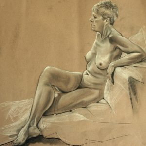 Lesley, Life Drawing, Charcoal & Chalk 60cm x 60cm