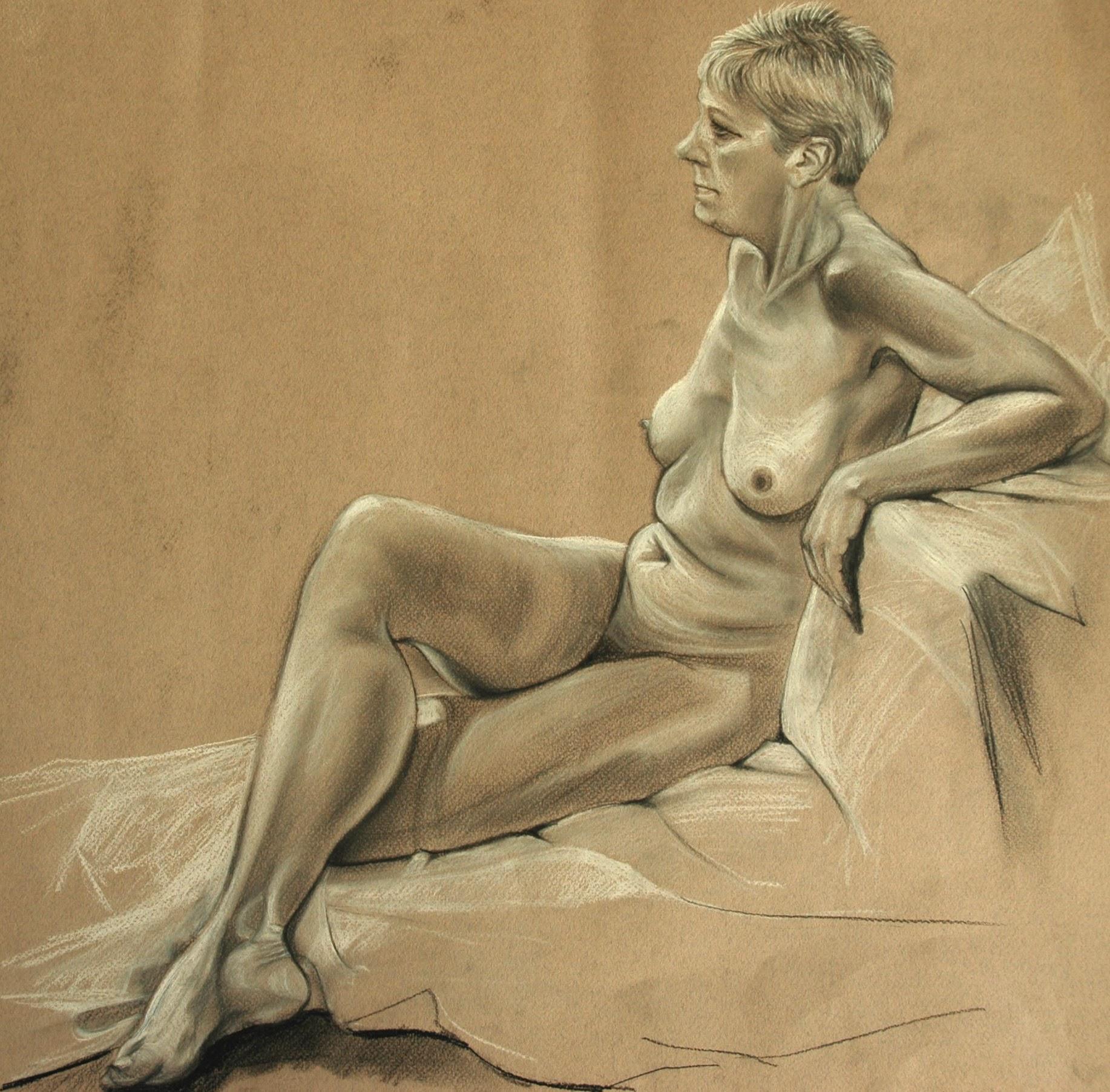 Lesley, Life Drawing, Charcoal & Chalk 60cm x 60cm