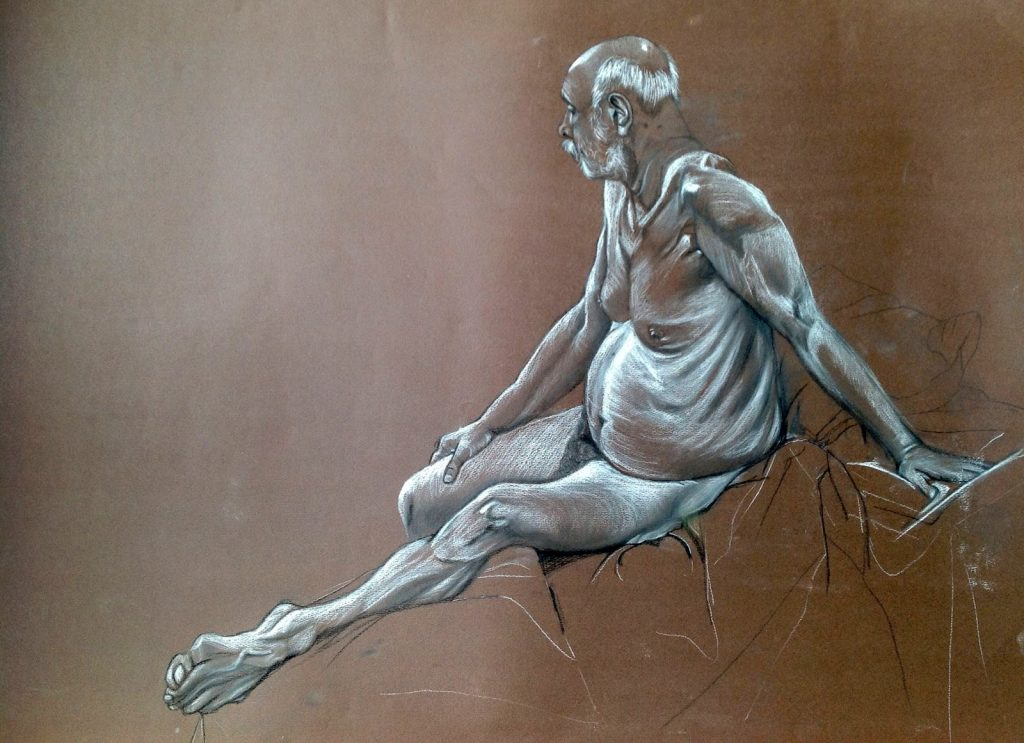 Old Man, Conte on Paper 70 x 50 cms