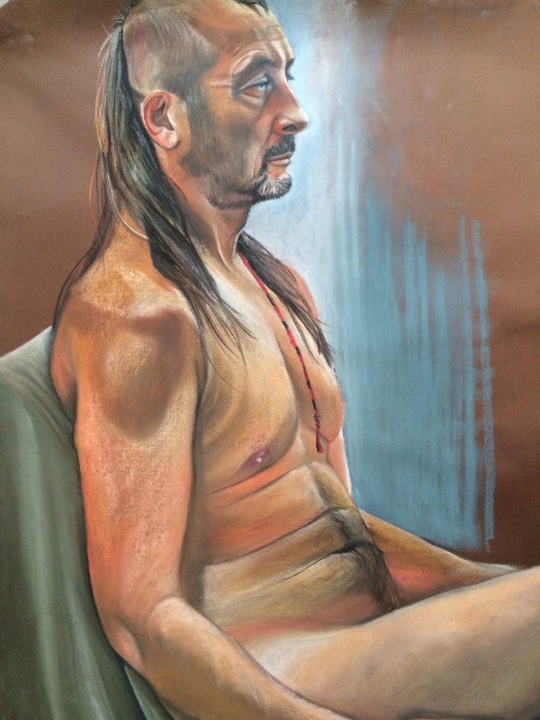 Simon, Biker, 47. Pastel 120 x 180 cms