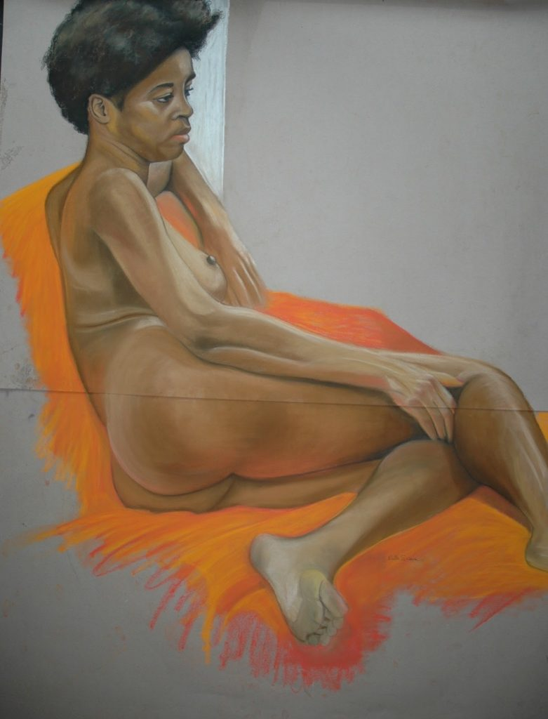 Ruby on an Orange Chair, Pastel 120 x 180cm