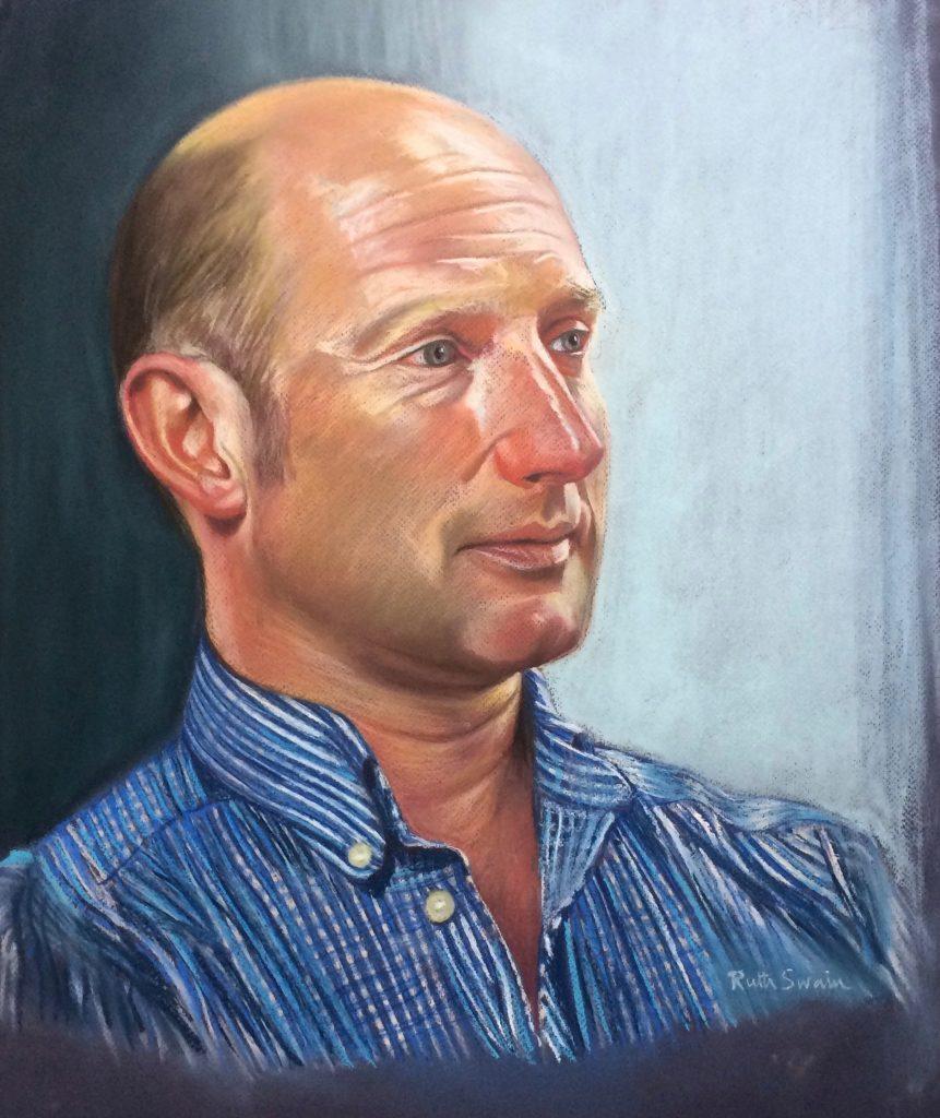 Man in a Blue Shirt, Pastel 44 x 60 cms