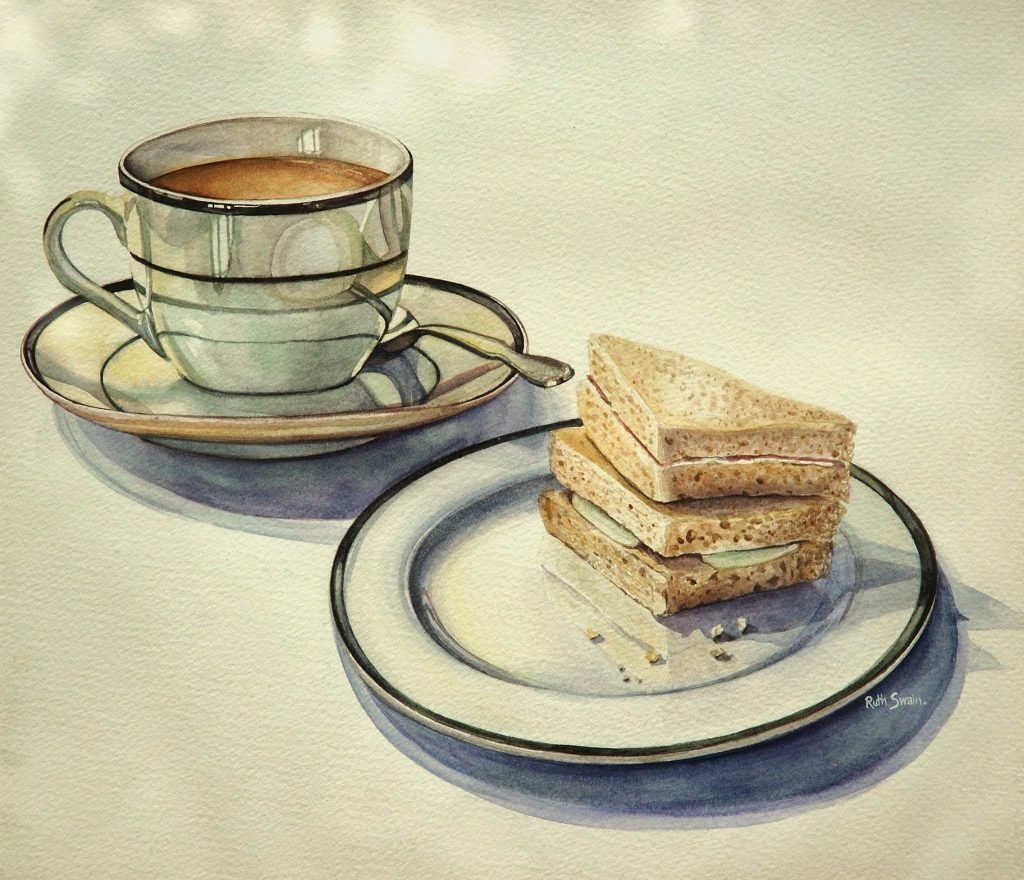 English Breakfast Tea, Watercolour 34 x 34 cms