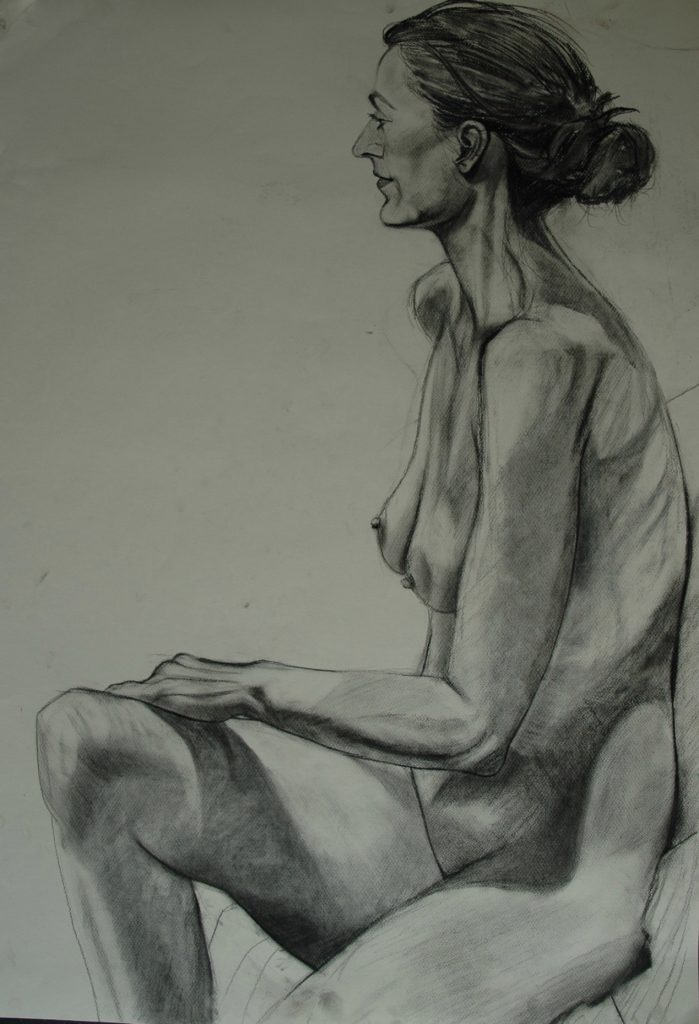 Model in charcoal