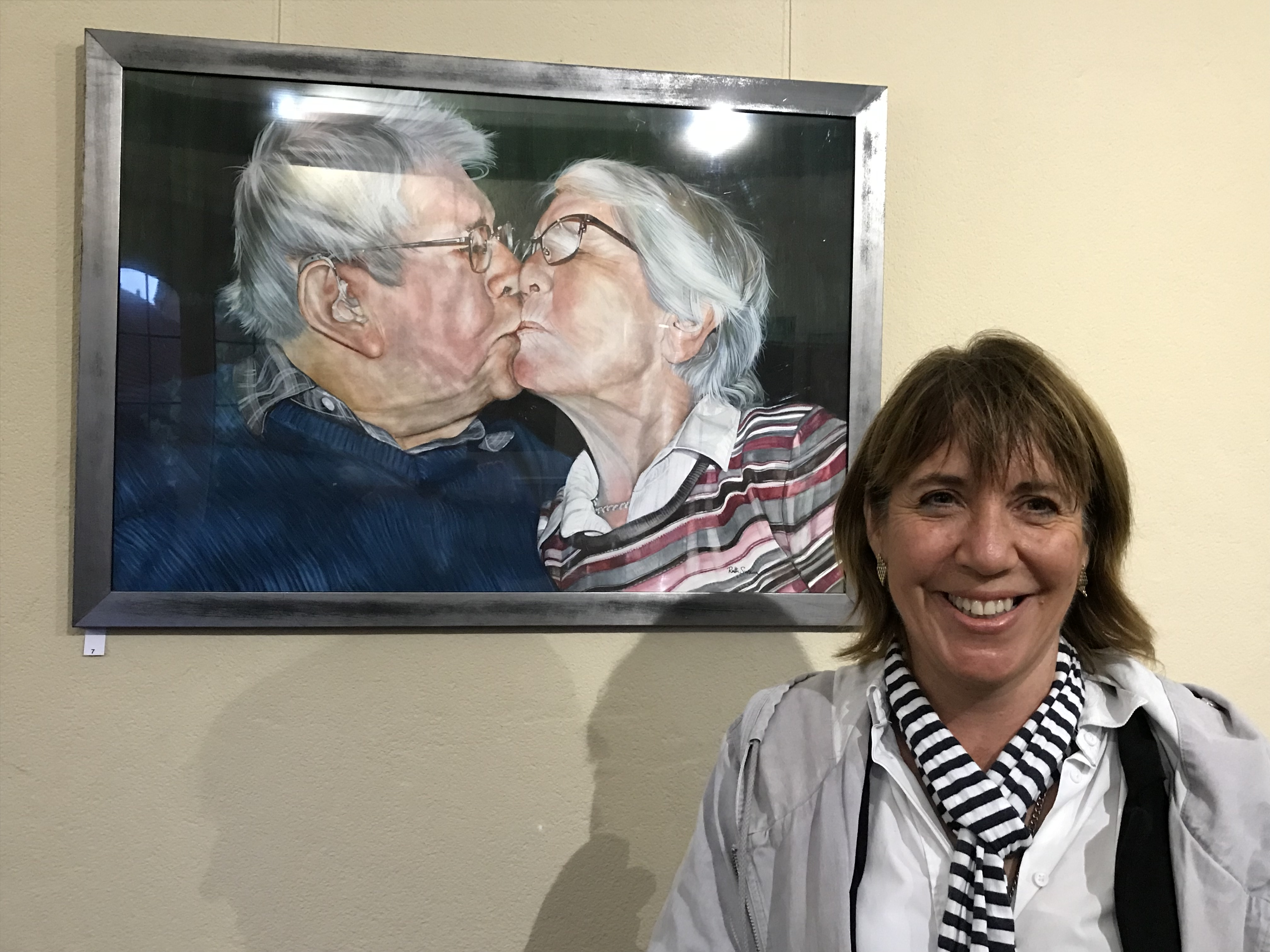 'Snogging' My portrait of my parents kissing at the O.A.S. Open exhibition 2019