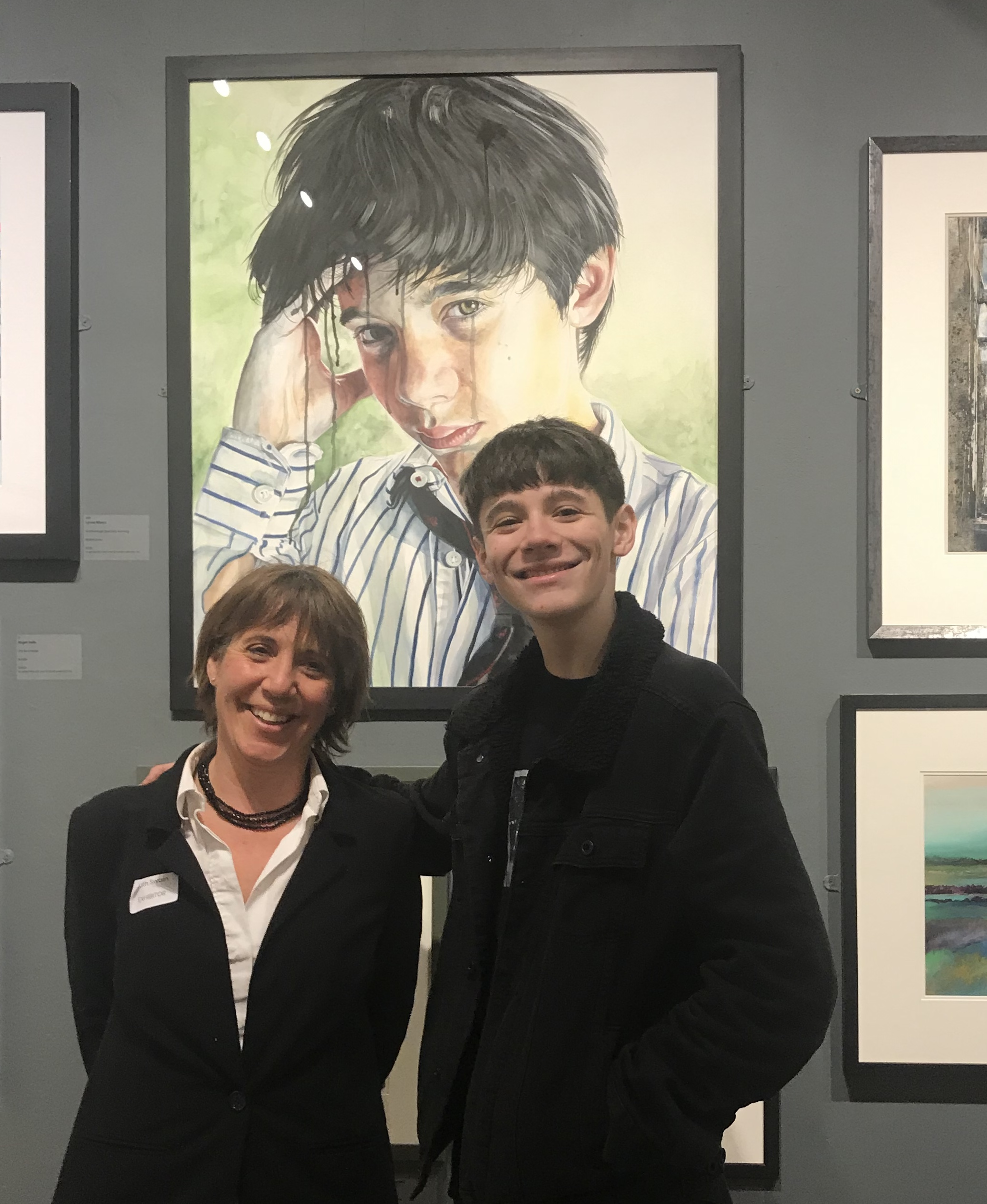 Me and Dom, (my son) in front of my painting at the Royal Institute of Painters in Watercolours 208th Exhibition 2018