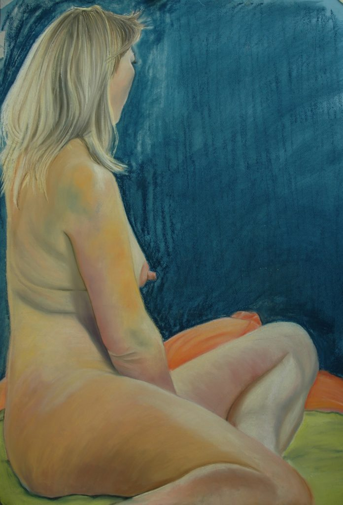 Nude on green and orange