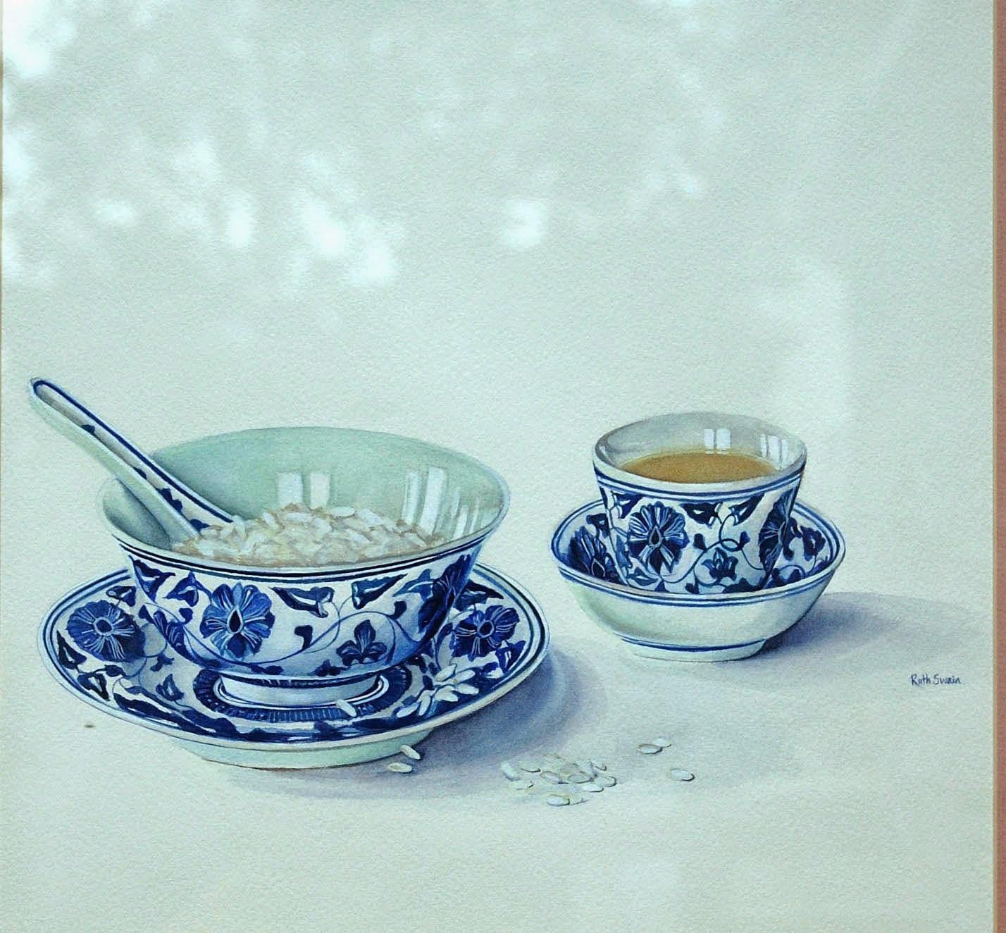 Chinese Tea, Watercolour 34 x 34 cms