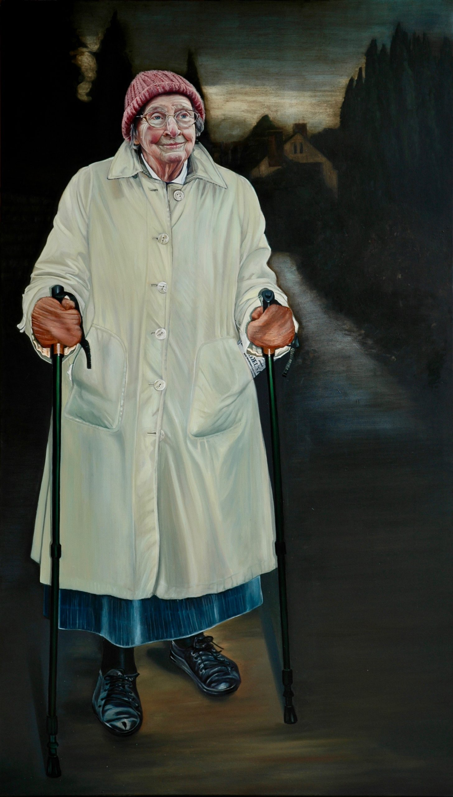 Lady With Two Sticks, oil on Canvas 120 x 210 cms
