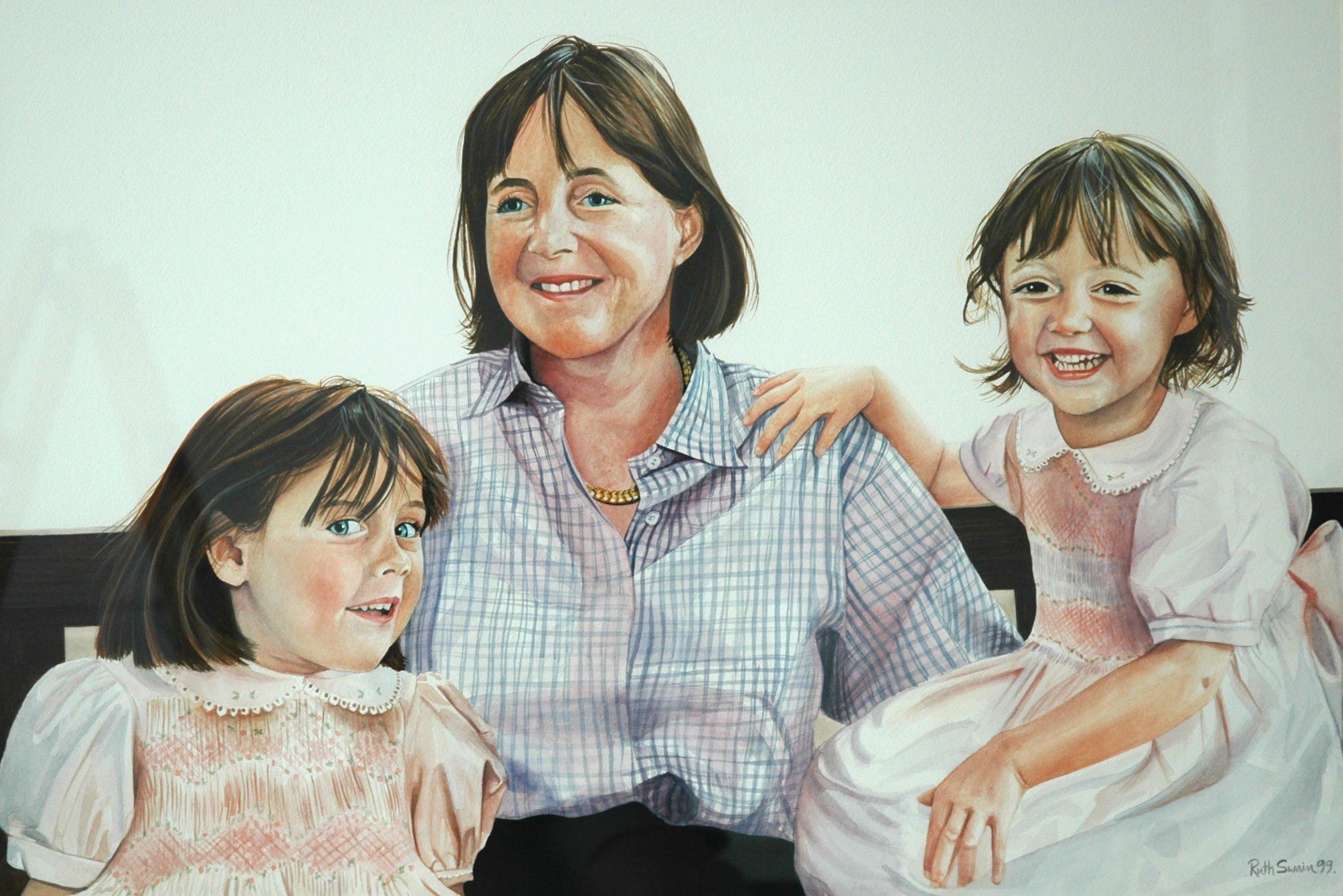 Edwina and Girls, Watercolour 80 x 65 cms