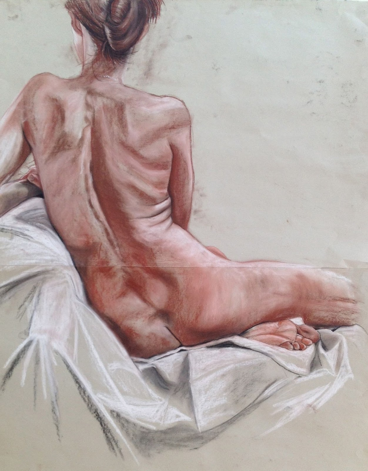 Reclining Nude, Conte on Paper 50 x 70 cms