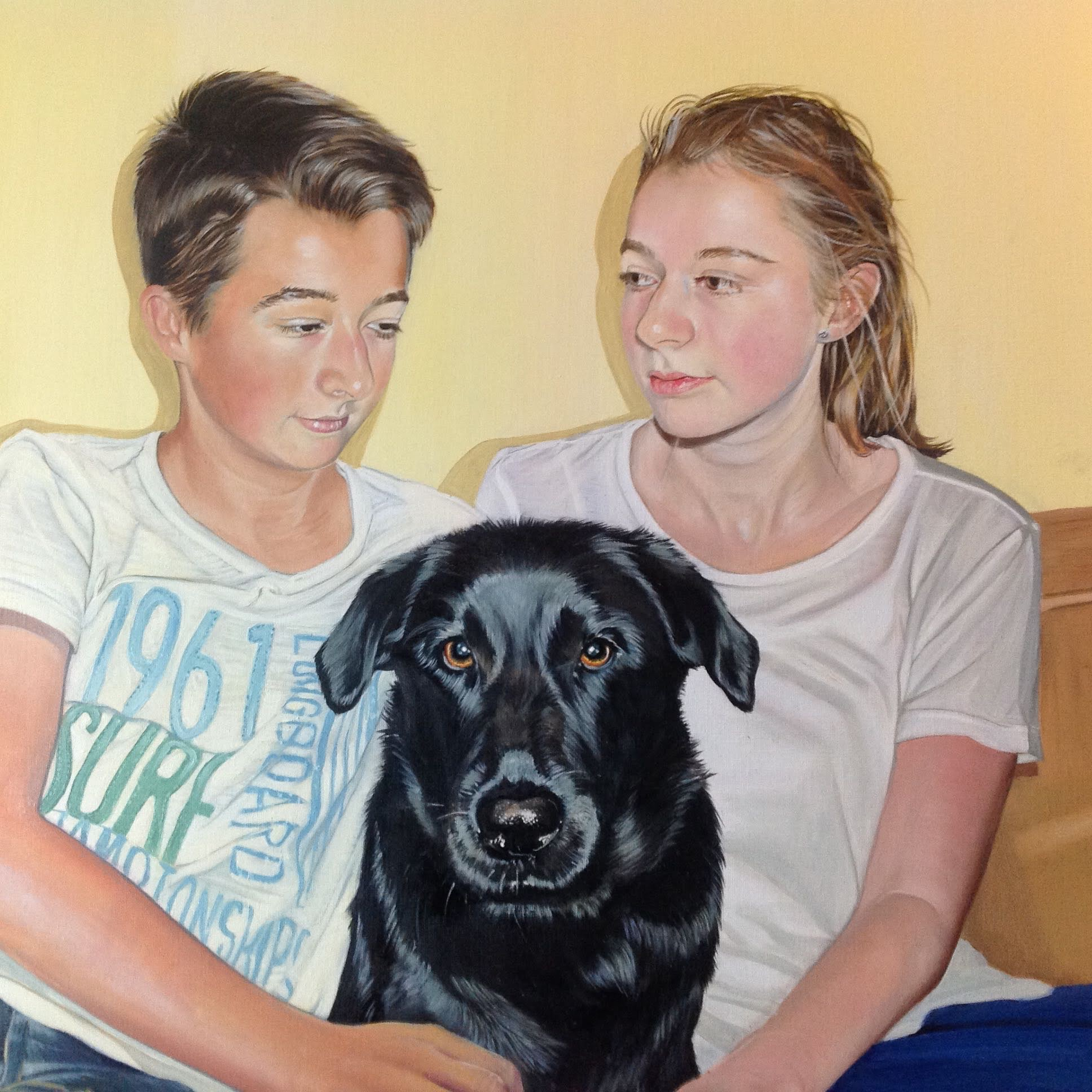 Detail Matthew and Hannah with their Dog 120 x 60cm
