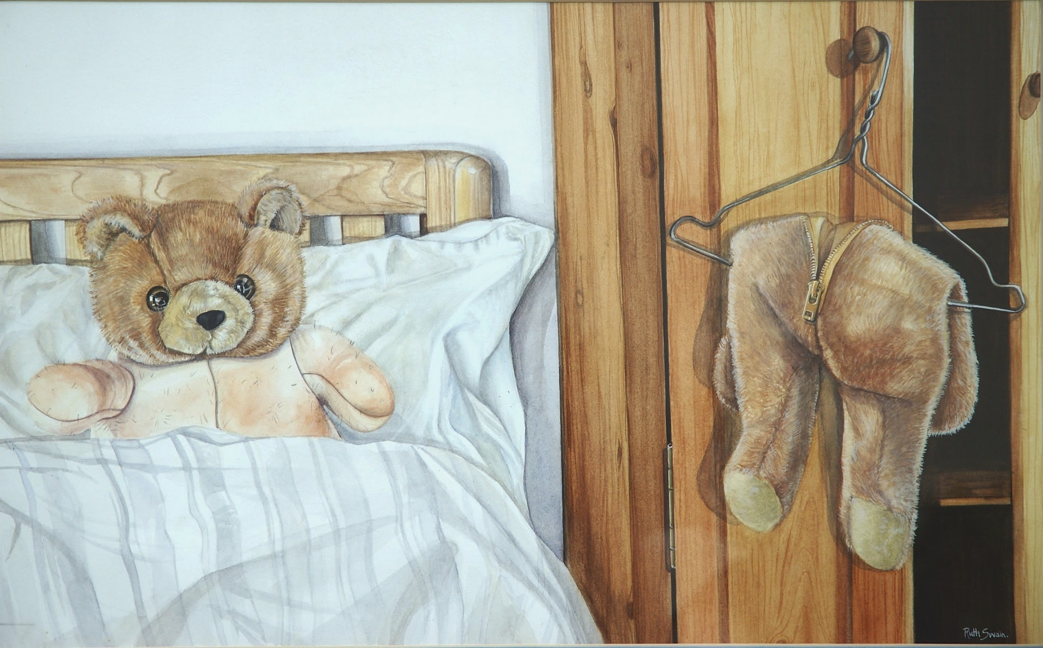 Teddy Bare, Watercolour 70 x 48 cms