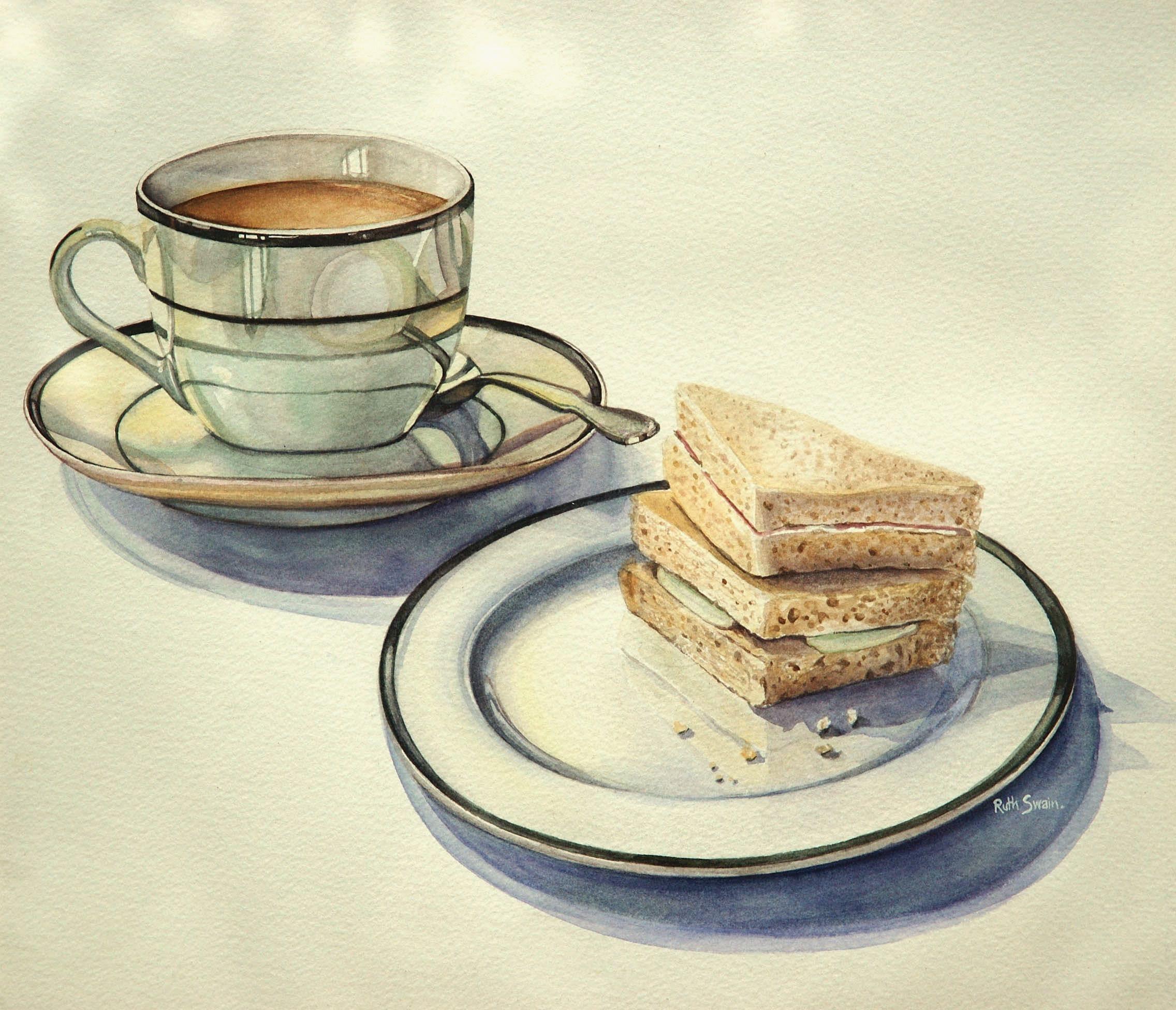 English Breakfast Tea, Watercolour 38 x 38 cms