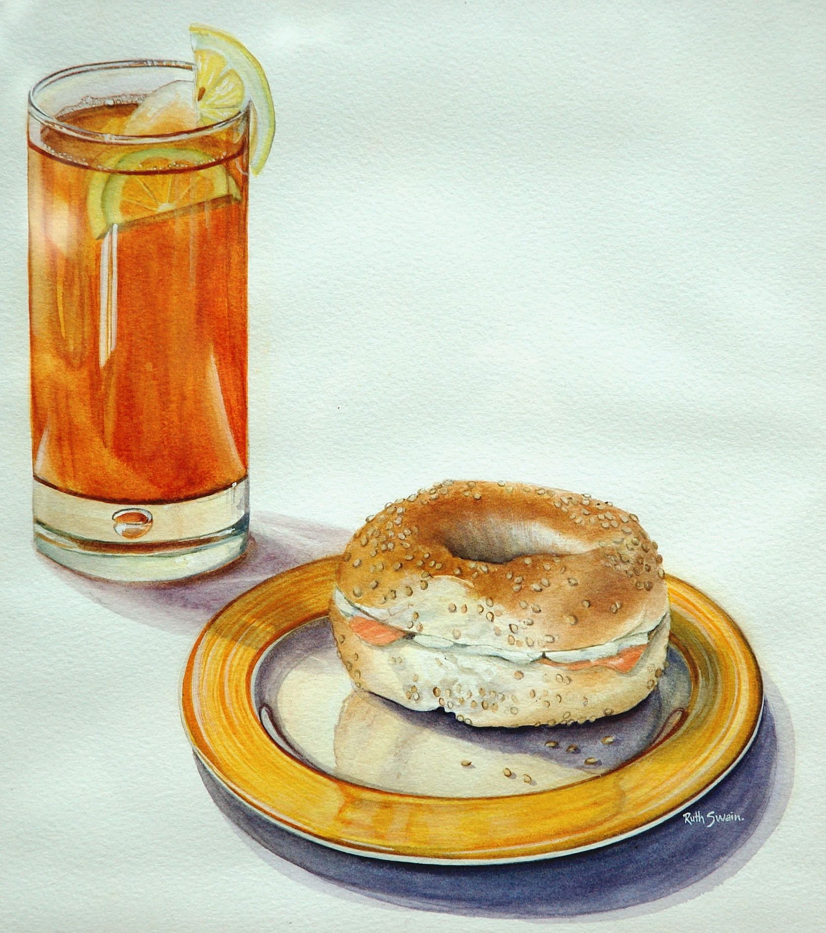 Long Island Iced Tea, Watercolour 38 x 40 cms